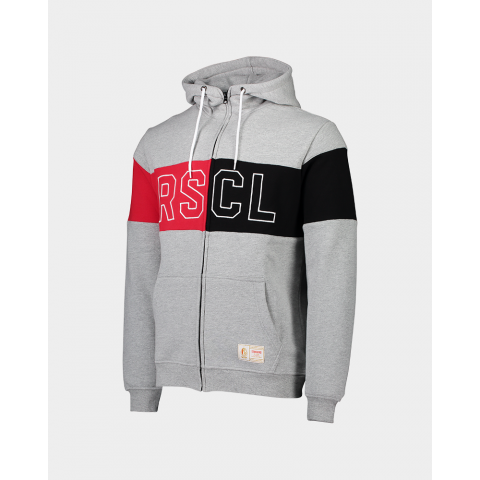 SWEAT A CAPUCHE GRIS ROUGE NOIR