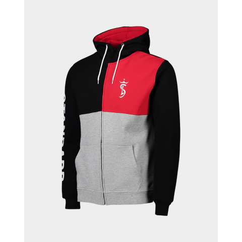 SWEAT A CAPUCHE BLOCK NOIR ROUGE